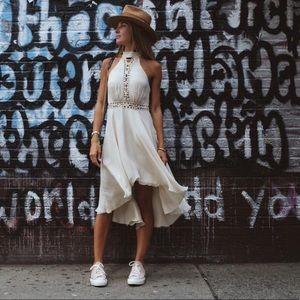 Haute Hippie high low beige silk dress